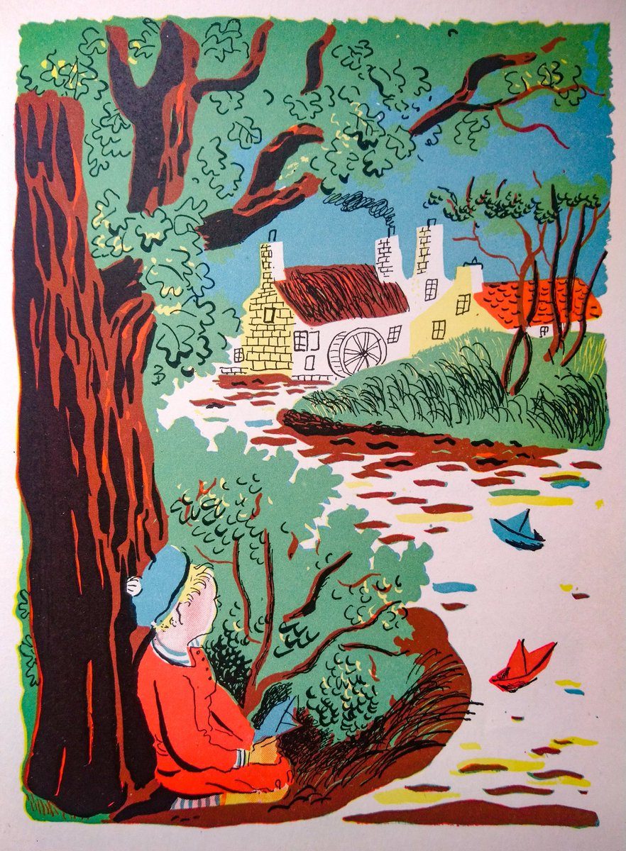 "#BookIllustrationOfTheDay is by Roger Duvoisin for ""A Child's Garden of Verses"" by R. L. Stevenson (1944). ""Where go the boats?""... Perhaps to ""Keepsake Mill""? Somehow, these poems capture long summer holidays... Duvoisin's bold quirky illustrations are still so fresh <br>http://pic.twitter.com/KNPChdDnCN"