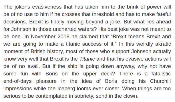 The best dissection of the UK's next Prime Minister, his motives and his flaws that you're likely to read anywhere, from the ever-insightful Fintan O'Toole. https://www.nybooks.com/articles/2019/08/15/boris-johnson-ham-of-fate/…