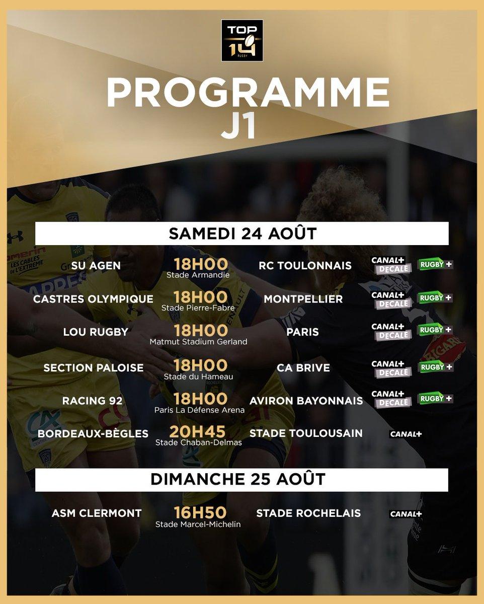 #TOP14 | J1, J2, J3, J4 Vous l'attendiez avec impatience pour organiser vos premiers matches et déplacements ! ☀️🏟️  La programmation des dates et horaires des 4 premières journées de TOP 14 est désormais connue ! 🗓️⏰