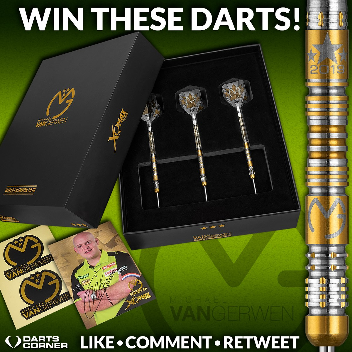 Win a set of the New Limited Edition MVG Gold Titanium Darts! Simply: Like, Retweet and comment on the weight you would like to win. Available in 21g, 23g, 25g.  Good Luck Everyone! #Competition #Giveaway