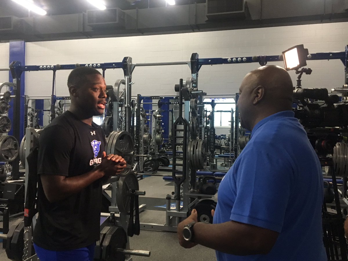 Thanks to @samcrenshaw23 for checking out our new weight room and football facilities for @ATL26_Channel26   #OurCity | #WITNESS2020 👀