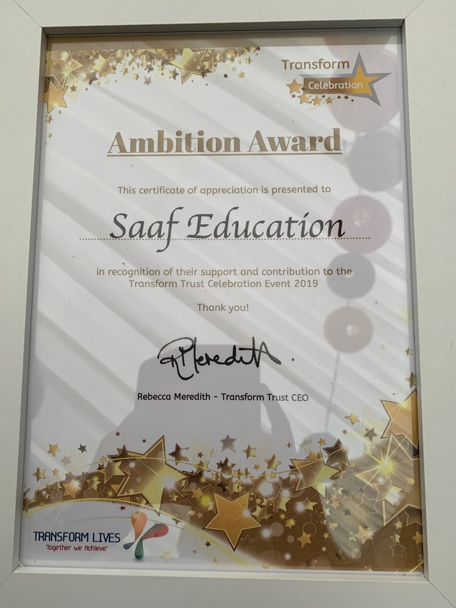 Thank you @TransformCEO for inviting SAAF to be involved at the @TransformTrust awards ceremony, what a great afternoon! #education #EnjoyAchieveExcel