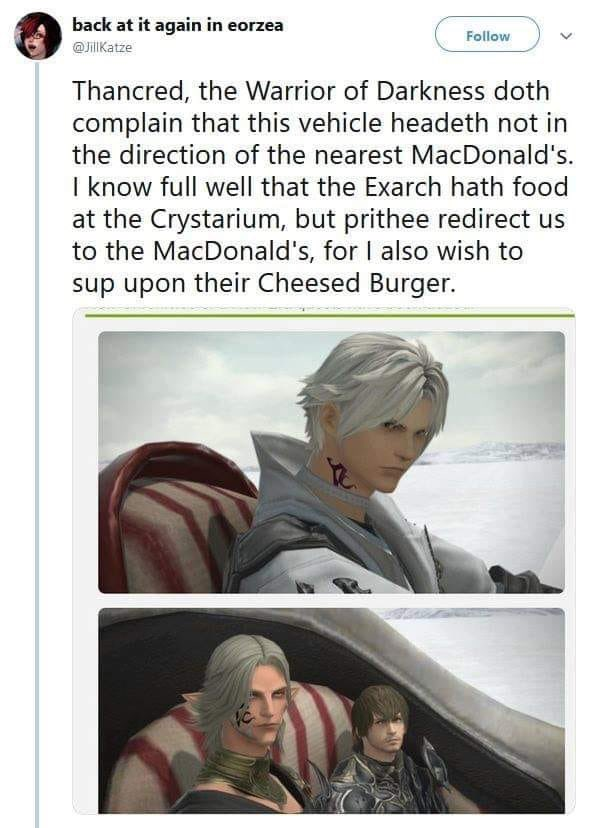 """Urianger: *reciting an intricatly woven essay to order his food*  Thancred:...""""OH FOR THE LOVE OF - THE MAN WANTS A GODS DAMNED CHEESEBUGER"""".   <br>http://pic.twitter.com/NLOu6rcmlZ"""