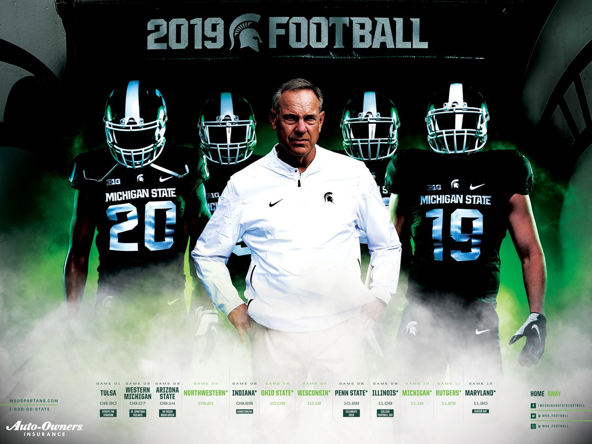 OFFICIAL POSTER REVEAL!  The 2019 @MSU_Football schedule poster will be available to the public for the first time at #MeetTheSpartans on August 19. #GoGreen<br>http://pic.twitter.com/lGswOMPWiN