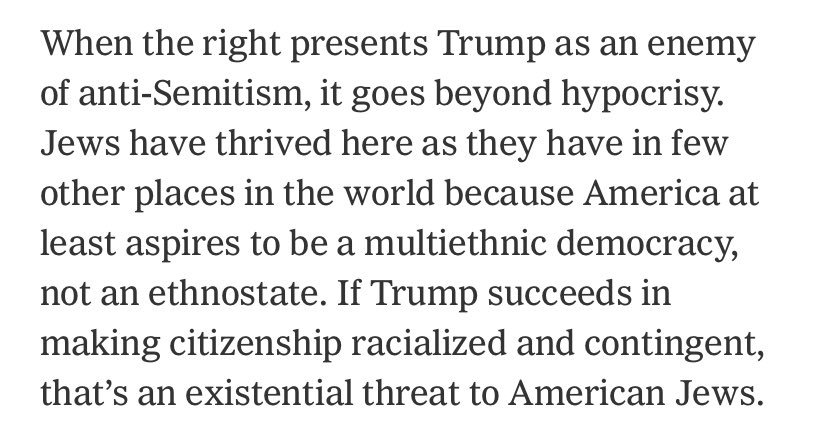 An important column from @michelleinbklyn on the Trumpist right's inversion of anti-semitism as left wing jewish criticism of right wing gentiles, and why Trumpism is never going to win over American Jews. https://www.nytimes.com/2019/07/19/opinion/trump-ilhan-omar.html?smid=nytcore-ios-share…