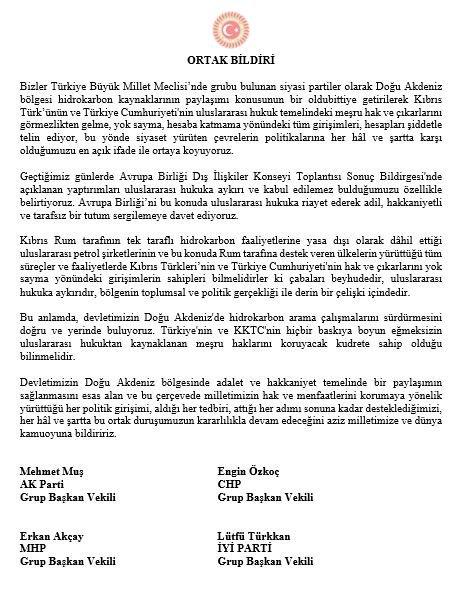 Türkiye Büyük Millet Meclisi dün (18 Temmuz) Doğu Akdeniz'de milli duruşumuzu ortaya koyan Ortak Bildiri'yi kabul etmiştir. @TBMMresmi