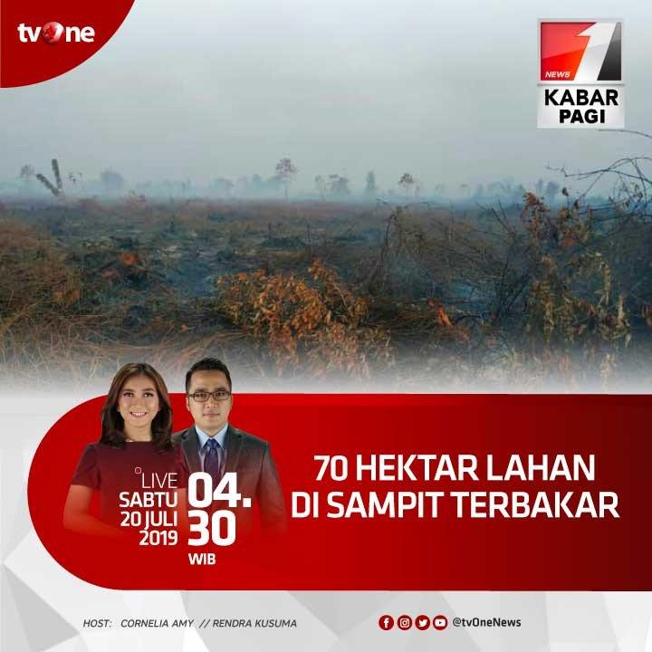 70 hektar lahan di Sampit terbakar.Saksikan Kabar Pagi Sabtu, 20 JUli 2019 jam 04.30 WIB hanya di tvOne & streaming di tvOne connect, android http://bit.ly/2CMmL5z  & ios http://apple.co/2Q00Mfc #KabarPagitvOne