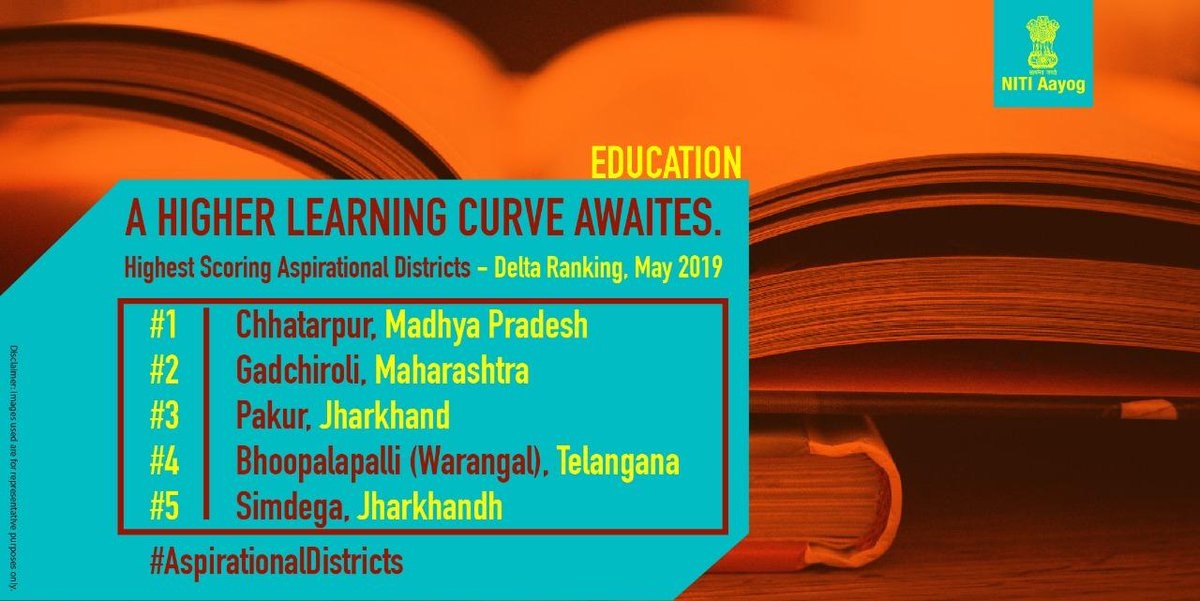 #AspirationalDistricts are adopting a systemic approach for transforming the #Education sector & taking strides towards improving learning outcomes of students. Here are the five most improved districts for the month of May, 2019.