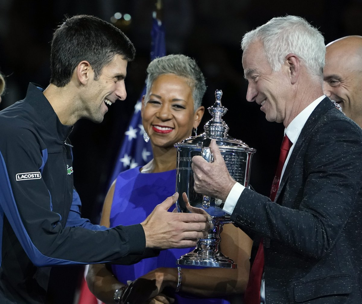 """John McEnroe on Novak Djokovic: """"At the end of the day, Novak may have more Grand Slam title than Nadal and Federer. In a couple of years, two, three years.""""   (via ESPN)"""