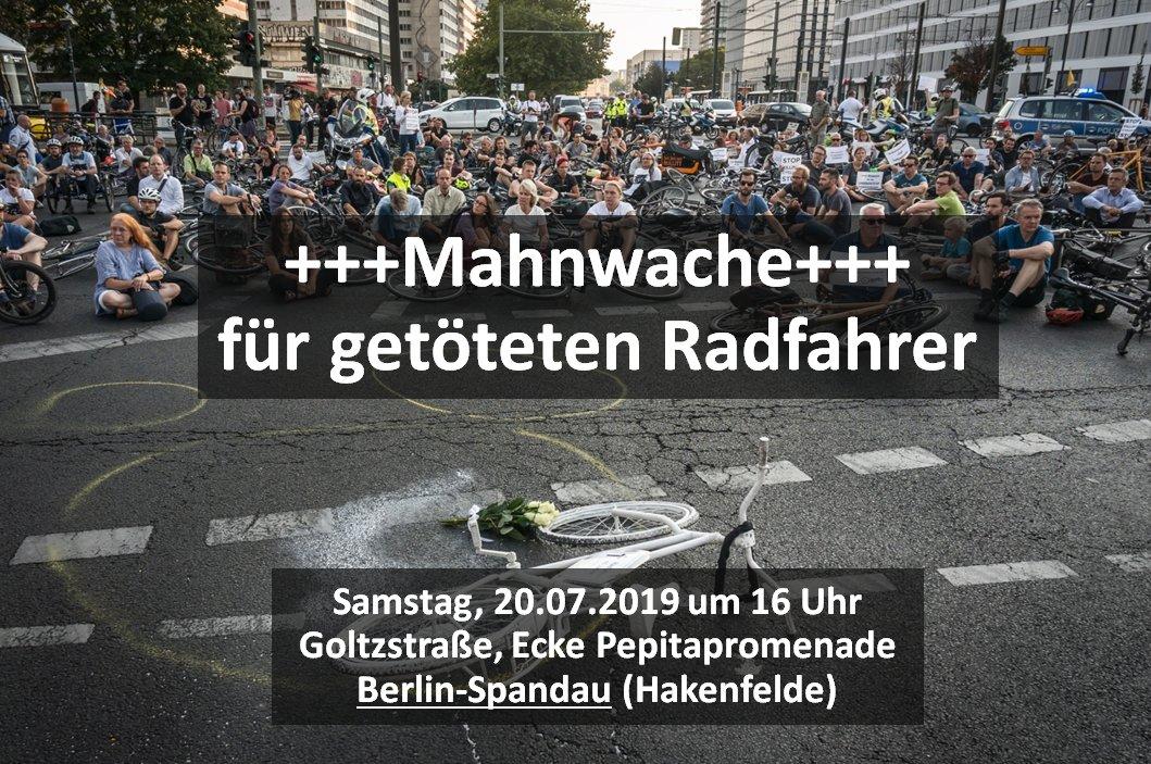 Mahnwache für getöteten Radfahrer