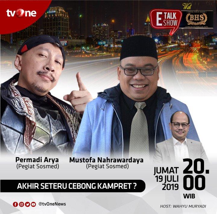 Setelah pesta demokrasi Pilpres usai, Jokowi dan Prabowo meminta tak ada lagi Cebong - Kampret. Lantas apa jadinya jika pendukung mereka bertemu?Saksikan E-Talkshow with BHS Jumat, 19 Juli 2019 jam 20.00 WIB hanya di tvOne. #EtalkshowtvOne