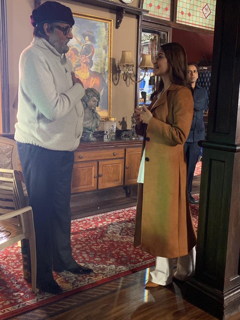 .@SrBachchan and @kriti_official clicked together on the sets of #Chehre.