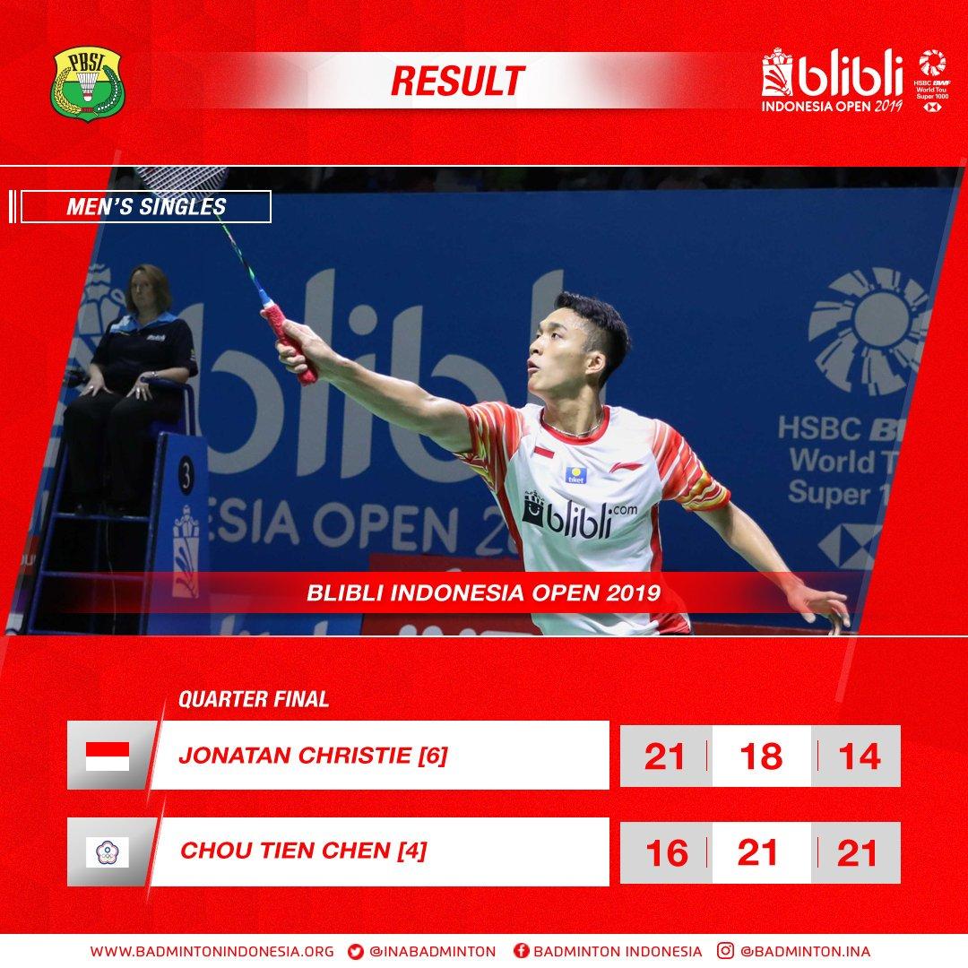 Hasil pertandingan Jonatan Christie vs Chou Tien Chen (Chinese Taipei) pada babak perempat final Indonesia Open 2019, Jumat (19/7/2019).