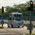 Image for the Tweet beginning: Driverless bus hits pedestrian in