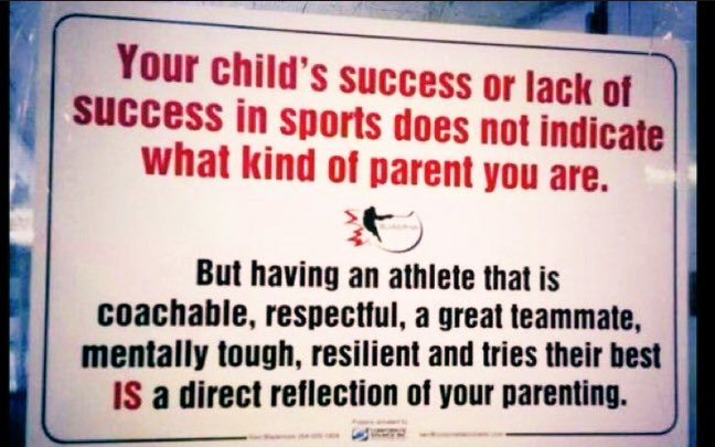 Your child's success or lack of success in sports does not indicate what kind of parent you are!