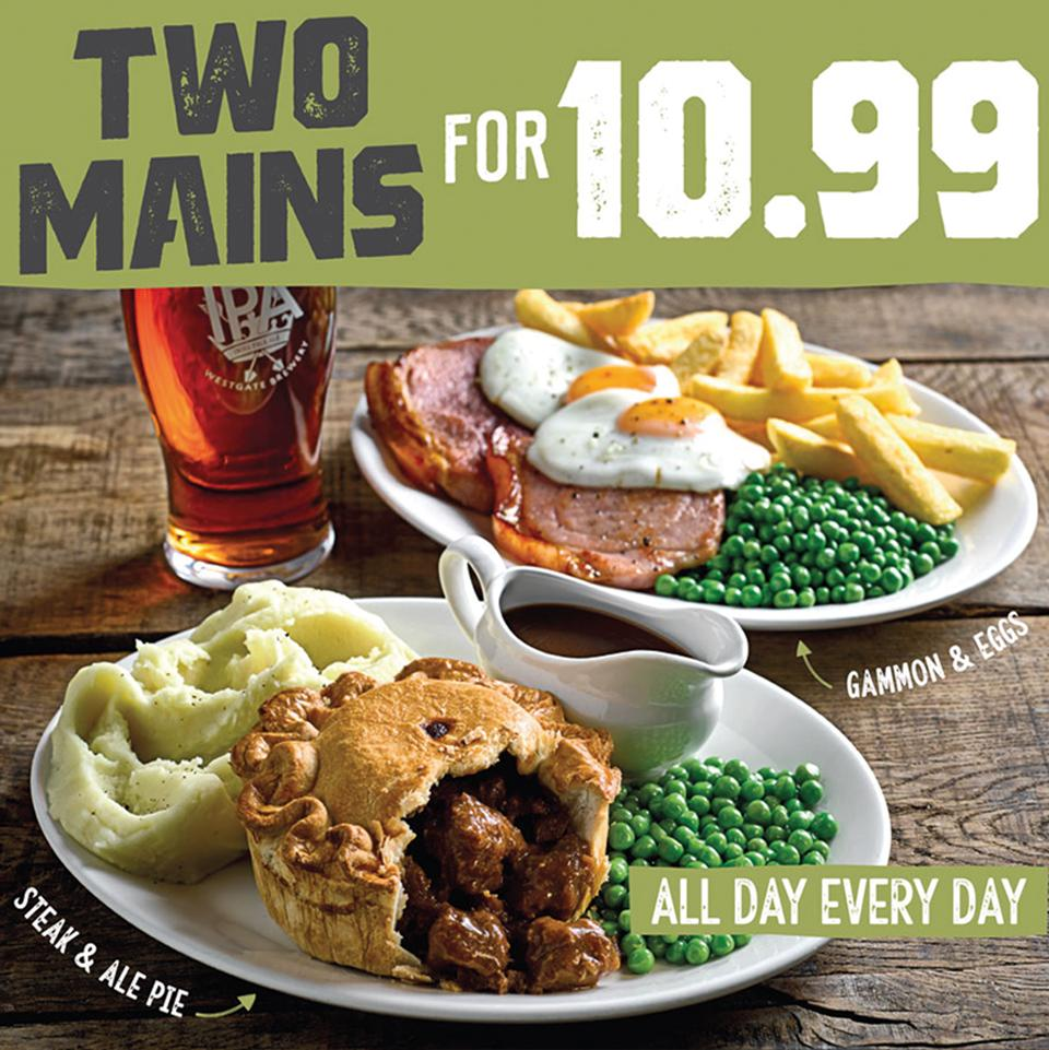 Any 2 of our MAIN meals for £10.99............All Day Every Day..................!!!