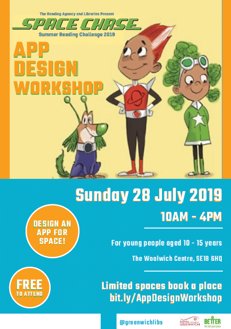Participate in the #SpaceChase for #SummerReadinchallenge2019 App Design Workshop at #woolwichlibrary on Sunday 28th July from 10am-4pm for children 10-15 years old. Book free tickets here: bit.ly/2JD51eC. @LDNLibraries @Royal_Greenwich #loveyourlibrary #SRC19