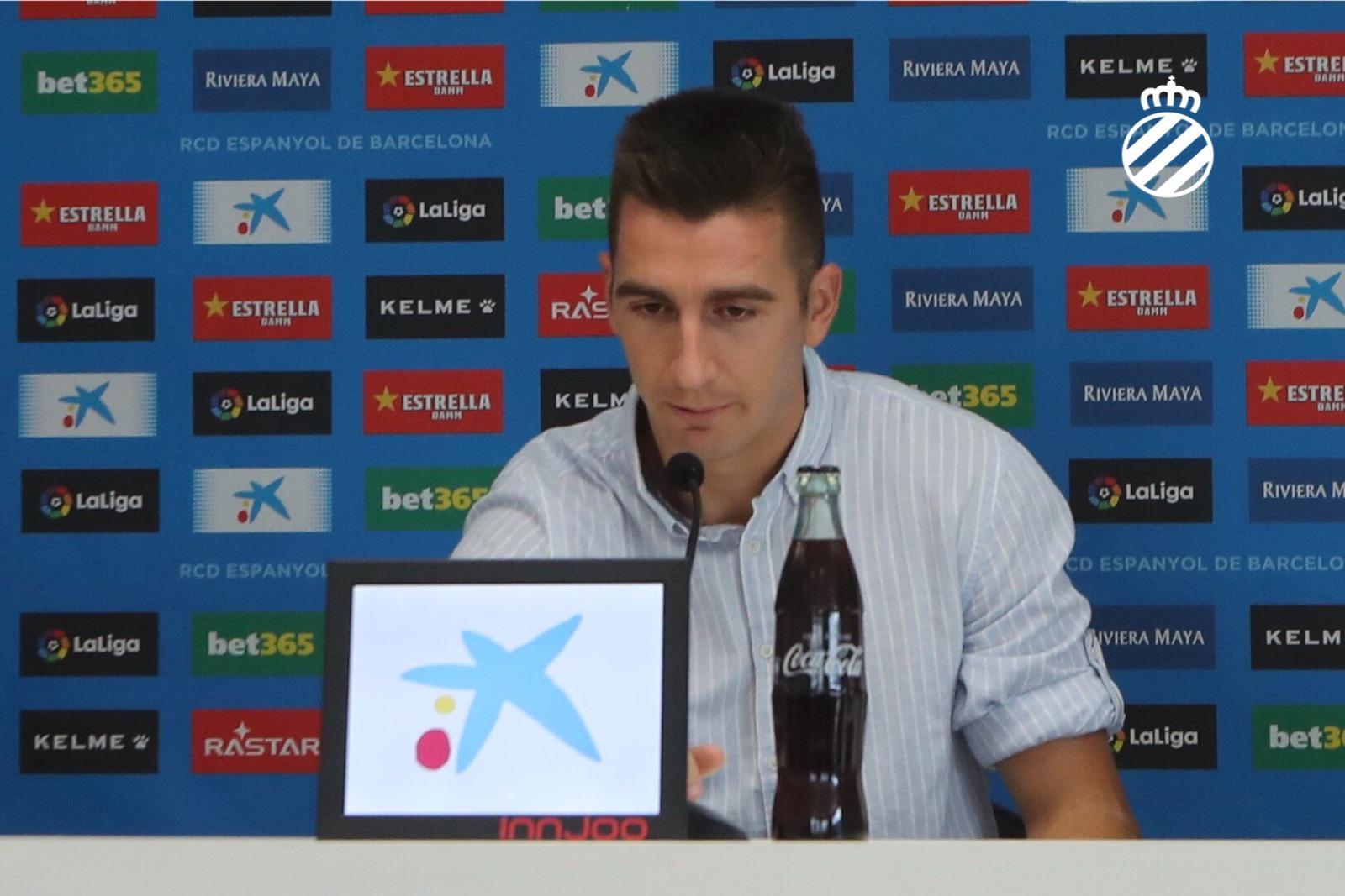 Andrés Prieto, durante su presentación (Foto: RCDE).