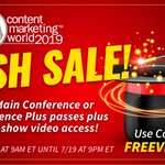 ⚡️ Flash sale ends TONIGHT! Content Marketing World and post-show video access - it's your last chance to get in on our bundled deal.As a bonus, code FREEVIDEO will get you $100 off your Main Conference or Main Conference Plus pass! https://t.co/Z9ssIbSpFv
