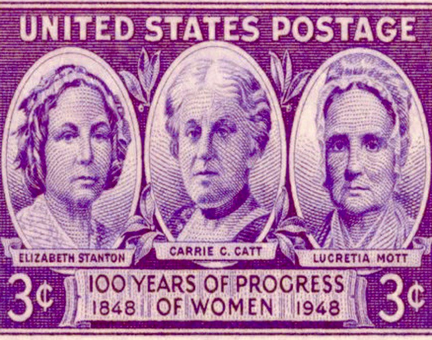 Seneca Falls Convention for women's rights started today 1848—commemorated by centennial postage stamp: