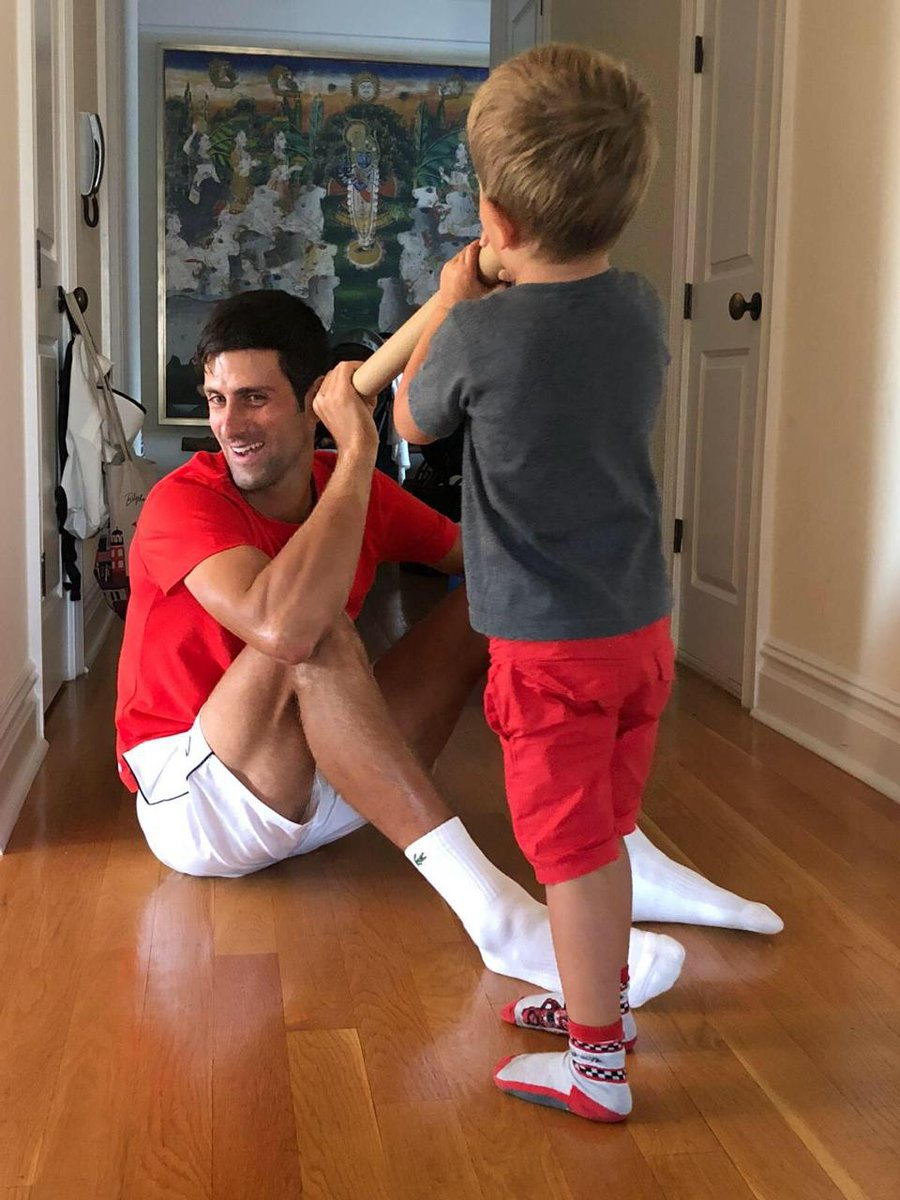 Wimbledon champion Novak Djokovic at his home.   ZOOM and see the picture at the wall behind him. <br>http://pic.twitter.com/fU8fvLy81m