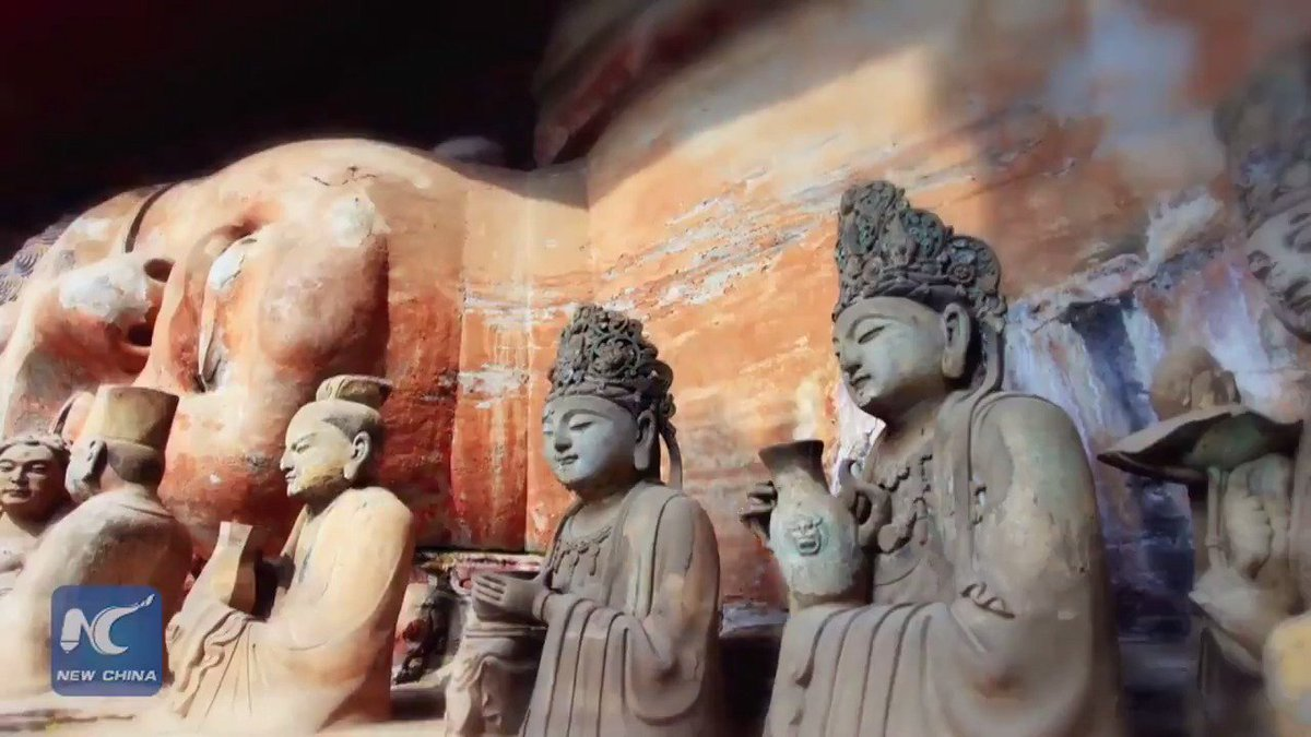 Restoration work starts on 700-year-old sleeping Buddha statue in southwest China's Chongqing