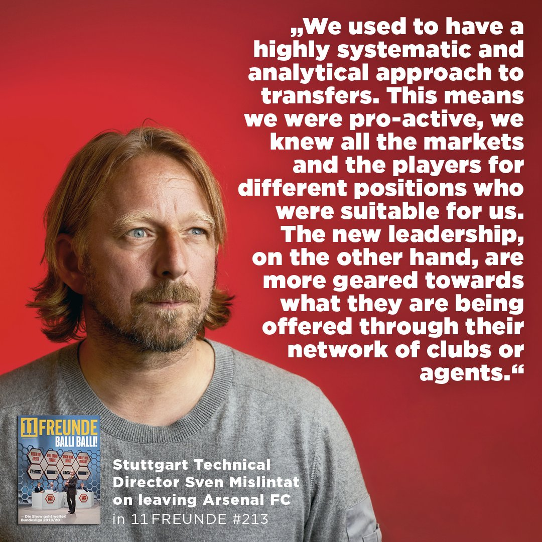 "I spoke with Arsenal's former Head of Recruitment, Sven Mislintat, about leaving the club. He also said: ""Actually, it had been agreed that I should become technical director and be with the team on a daily basis. But the new leadership had their own agenda and other candidates."""