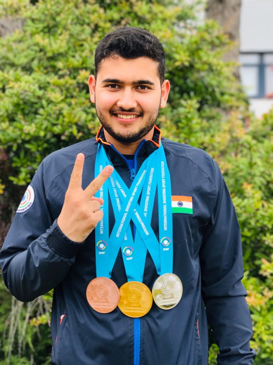 Men's 25M Rapid Fire Pistol gold medalist ⁦@ImAnishBhanwala⁩ of #India is thrilled after a successful ⁦@ISSF_Shooting⁩ Junior World Cup campaign in Suhl, Germany!