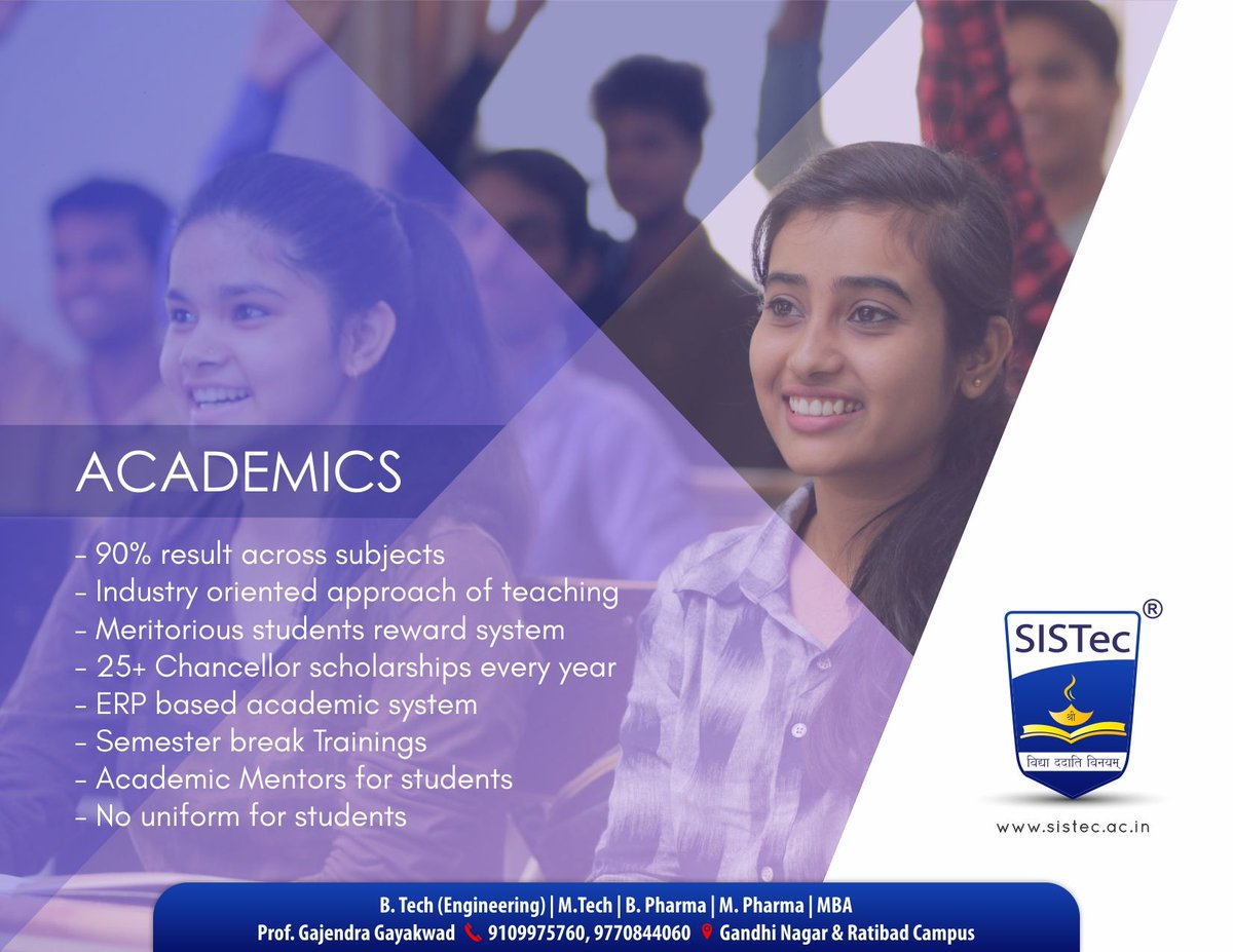 #SagarGroupofInstitutions #SGIBhopal  #SISTec: The #Best #Place for #Learning  #Admission Open for #Engineering (B. Tech)  #Visit: http://sistec.ac.in   #EngineeringCollege #AdmissionOpen #NewSession #DirectAdmission #DTE #RGPV #MP #Counselling #CLC   https://www.facebook.com/319017528170639/posts/2997513896987642 …