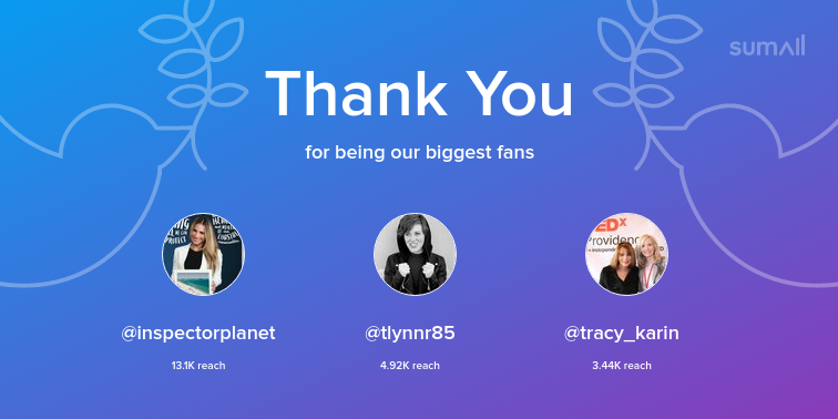 Our biggest fans this week: inspectorplanet, tlynnr85, tracy_karin. Thank you! via sumall.com/thankyou?utm_s…