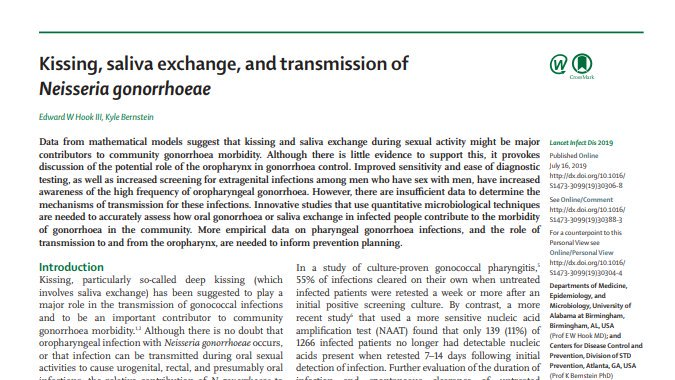 Does kissing account for 70% of gonorrhea among gay and bisexual men? Excellent commentary in @TheLancetInfDis by Ned Hook and @epibitz on why we should be skeptical about this hypothesis. https://www.thelancet.com/journals/laninf/article/PIIS1473-3099(19)30306-8/fulltext…