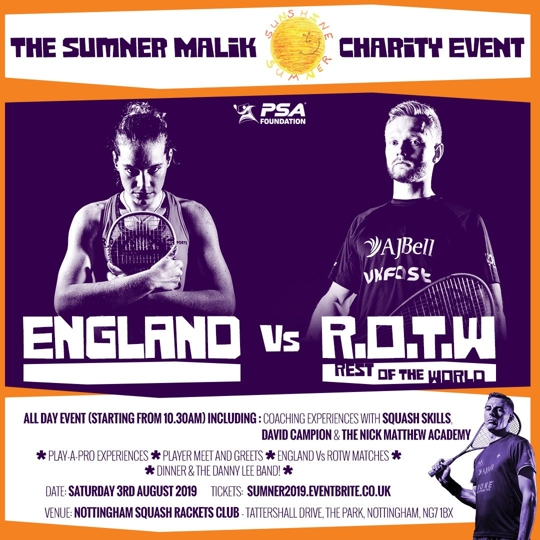 test Twitter Media - 📅 Saturday August 3 📍 Nottingham Squash Club 🏴 England v 🌍 Rest of the World 🤳 Player meet & greets & more!  The Sumner Malik celebratory event takes place next month & you can buy your tickets now ➡️ https://t.co/NM6lVpCCRD  #Sunshine4Sumner https://t.co/Jj3EbLdb5D