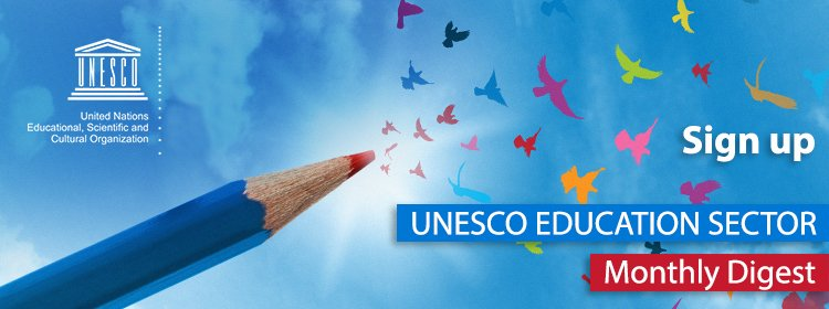 Interested in @UNESCO's work in #education?   Get the latest news via our monthly digest!   📩 http://on.unesco.org/2oa2Wxj #SDG4