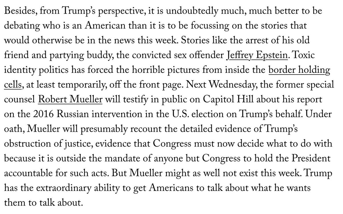"""It really irks me when prominent journalists (e.g. in the New Yorker) write stuff like """"Trump has the extraordinary ability to get Americans to talk about what he wants them to talk about"""" without acknowledging the media's role in deciding what to cover. https://bit.ly/2XTCL1t"""