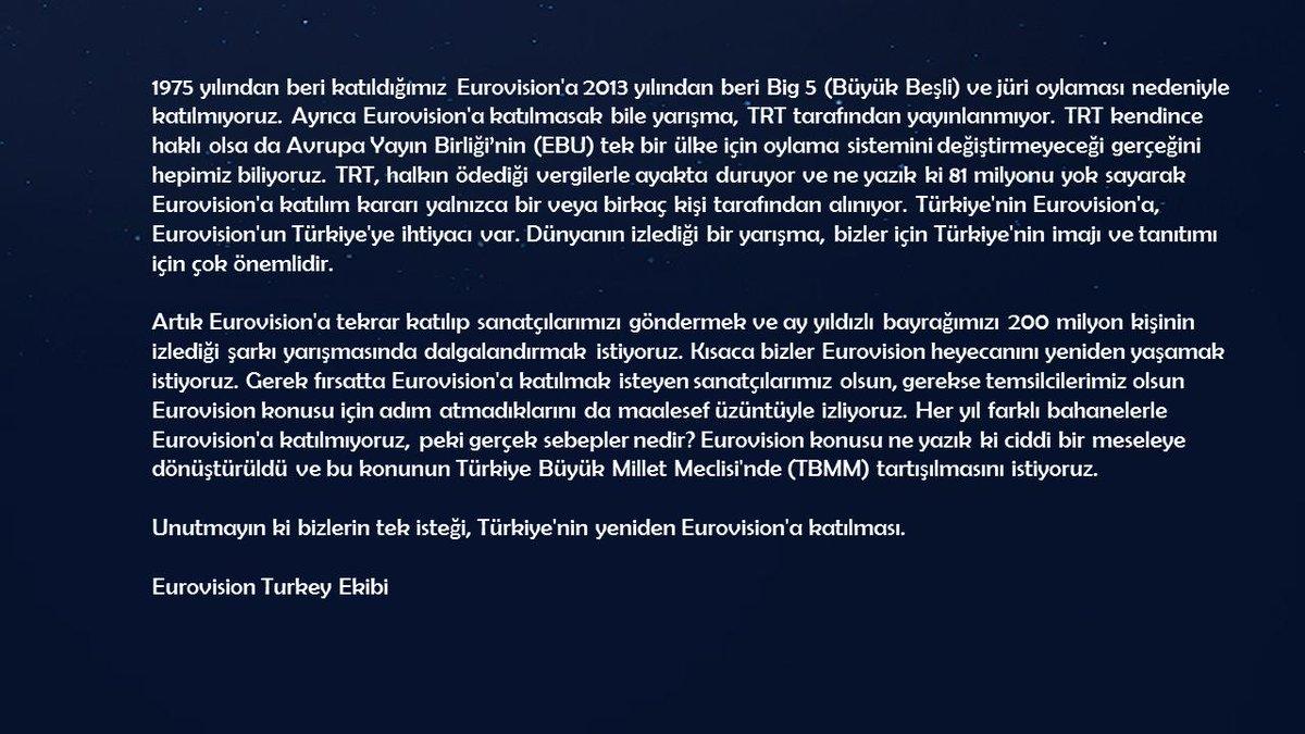 ÇAĞRI   Eurovision Şarkı Yarışmasına katılım konusunun Türkiye Büyük Millet Meclisinde tartışılmasını istiyoruz. @TBMMresmi @TBMMGenelKurulu @MhpTbmmGrubu @iyipartitbmm @herkesicinCHP @SaadetPartisi @Akparti @MustafaSentop @sdbilgic32 @goklevent @Av_Burcu03 @ismailok_