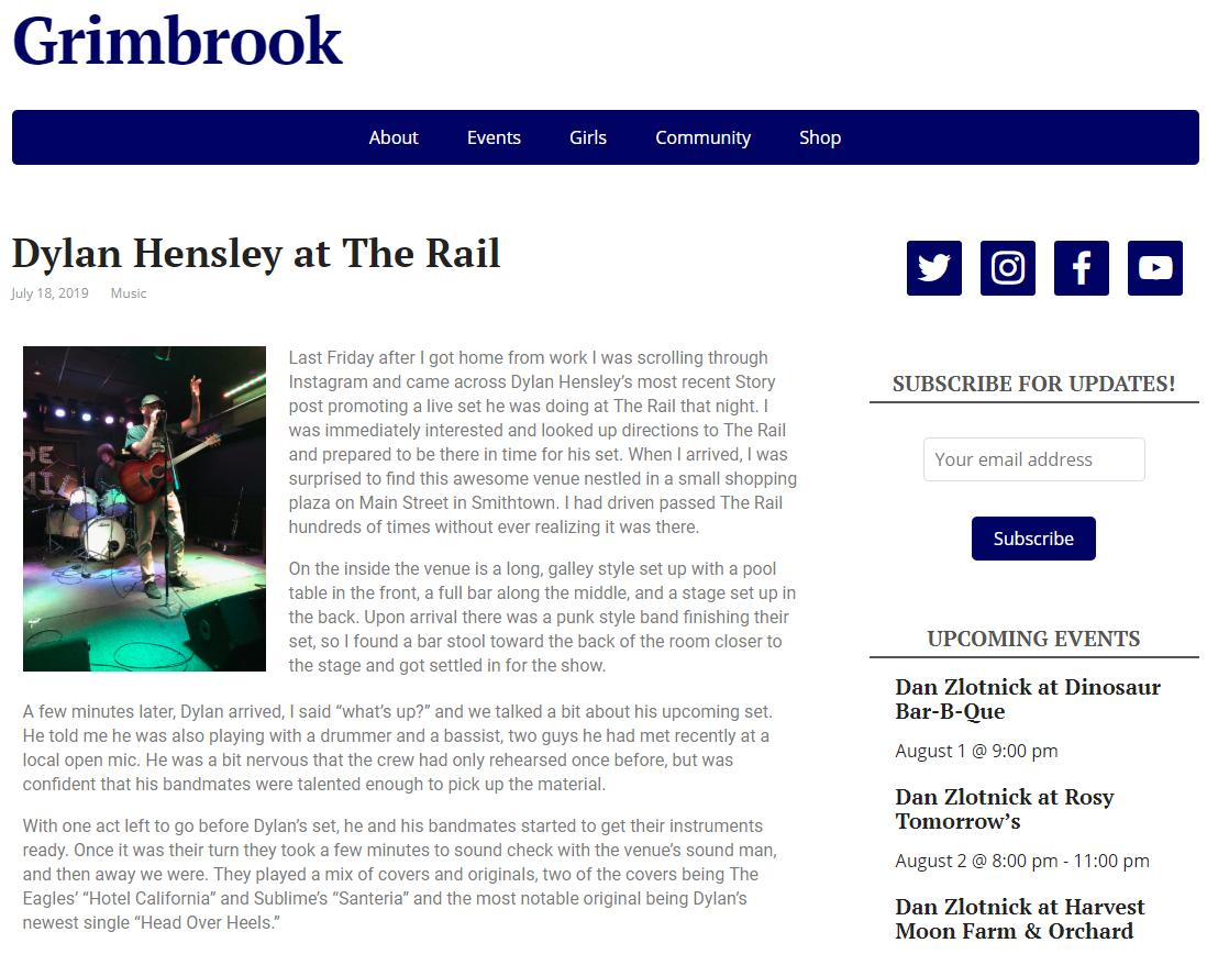 """New blog post about Dylan Hensley's set at The Rail in Smithtown this past Friday! Keep an eye out for his upcoming """"Head Over Heels"""" music video. 🎵📽️  https://grimbrook.com/2019/07/18/dylan-hensley-at-the-rail/…"""