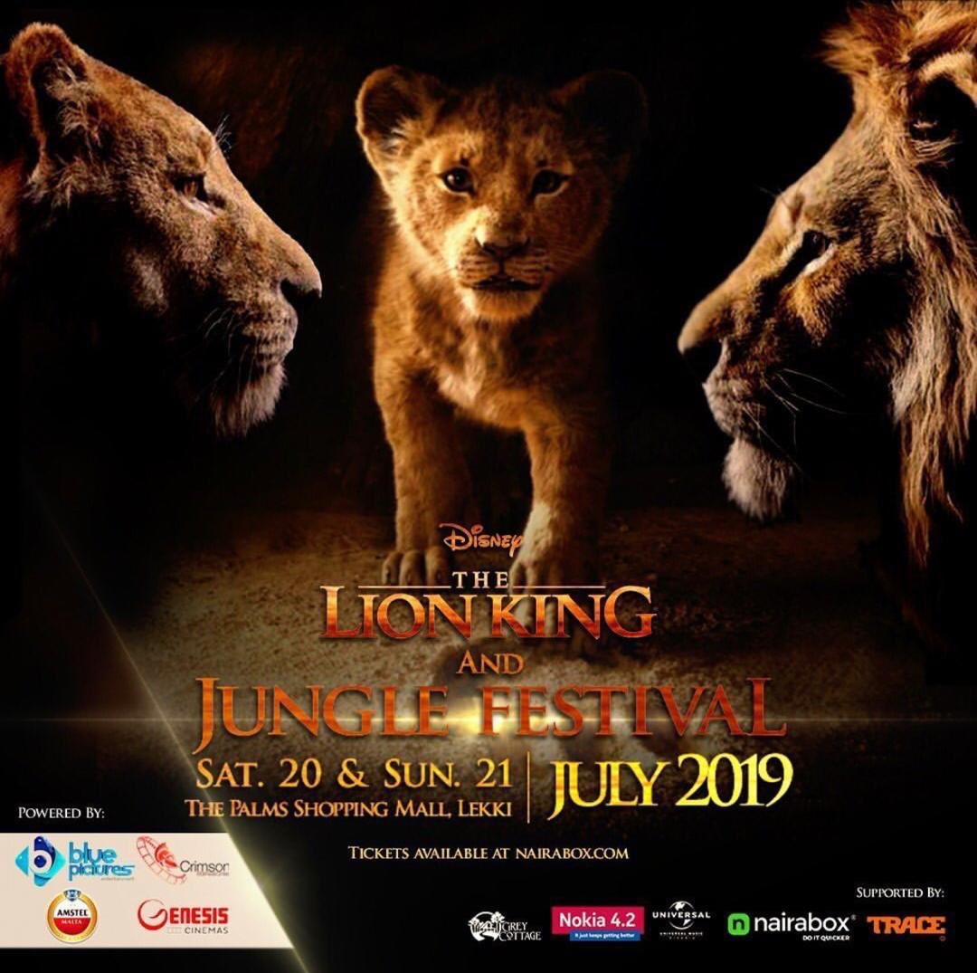 The palms shopping mall is going to be playing host to the #LionKingJungleFestival   On the 20th & 21st of July.   side attractions include  Games.  Prize Giveaways.  Lion King movie screenings.  Live Music.  Celebrities. and lots more Tickets available now @nairabox<br>http://pic.twitter.com/NxcX6UPsXE
