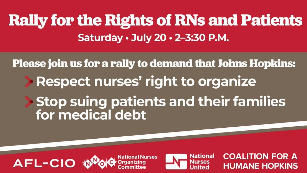 We stand with Johns Hopkins Hospital nurses! Johns Hopkins Hospital must treat patients and nurses with the dignity they deserve!