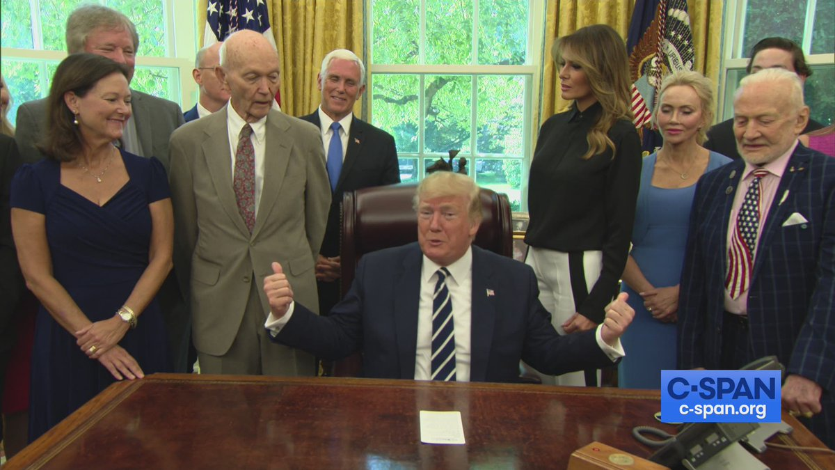 WATCH: President Trump meets with #Apollo11 astronauts Buzz Aldrin & Michael Collins, along with the family of Neil Armstrong. https://cs.pn/2JPmqkE #Apollo50