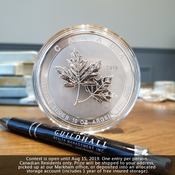 Enter for a chance to WIN a FREE 10 Oz Silver Maple Leaf coin (approx. $175 USD). To enter, simply retweet this message. A unique product for silver investors which makes a great gift. At .9999 purity, this is a must-have for all heavy coin collectors. #SILVER #BULLION #RCM