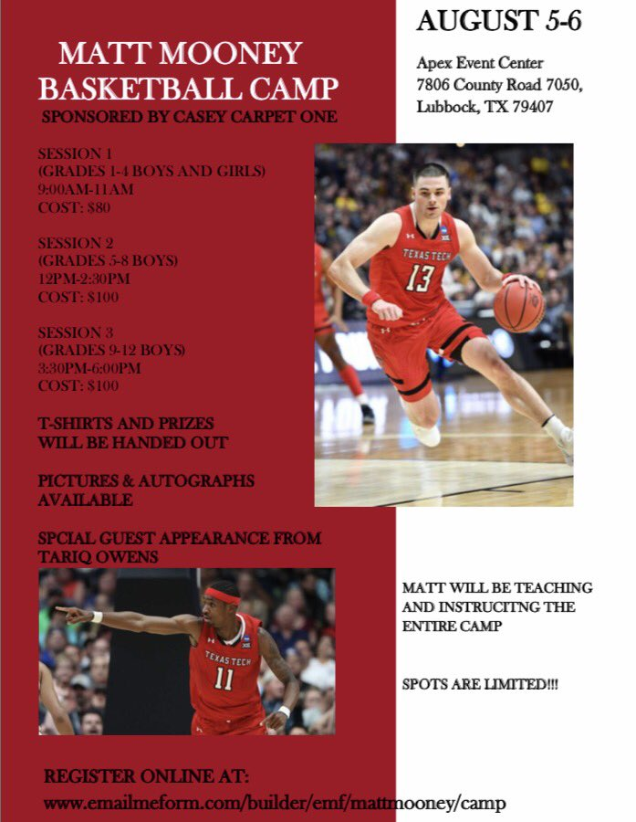 LUBBOCK!! Im coming back to run a camp August 5-6. Grades 1-12. Special guest appearance from Tariq Owens! T-shirts, prizes, autographs and more will be handed out. Cant wait to come back and see the best fans in the country! See the flyer to register 🔥 #GunsUp