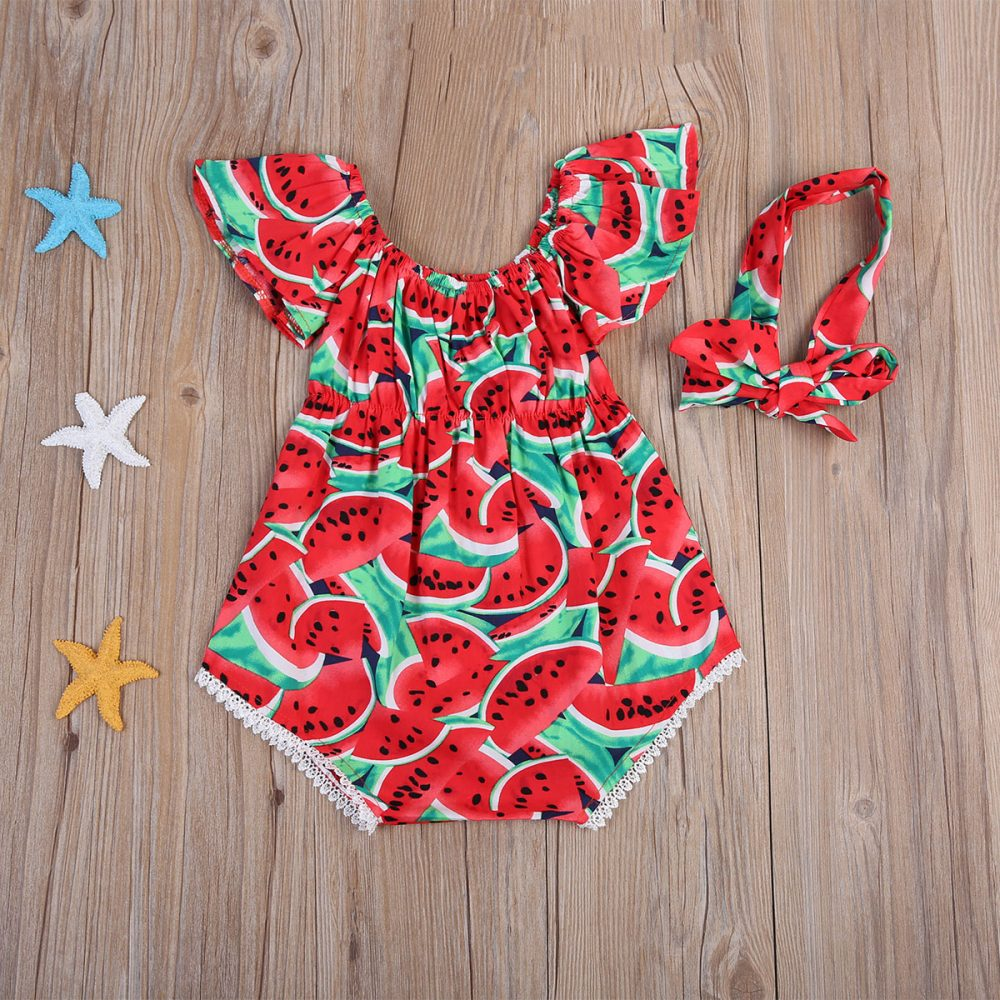 #fashion #life Watermelon Patterned Baby Girls Romper with Headband