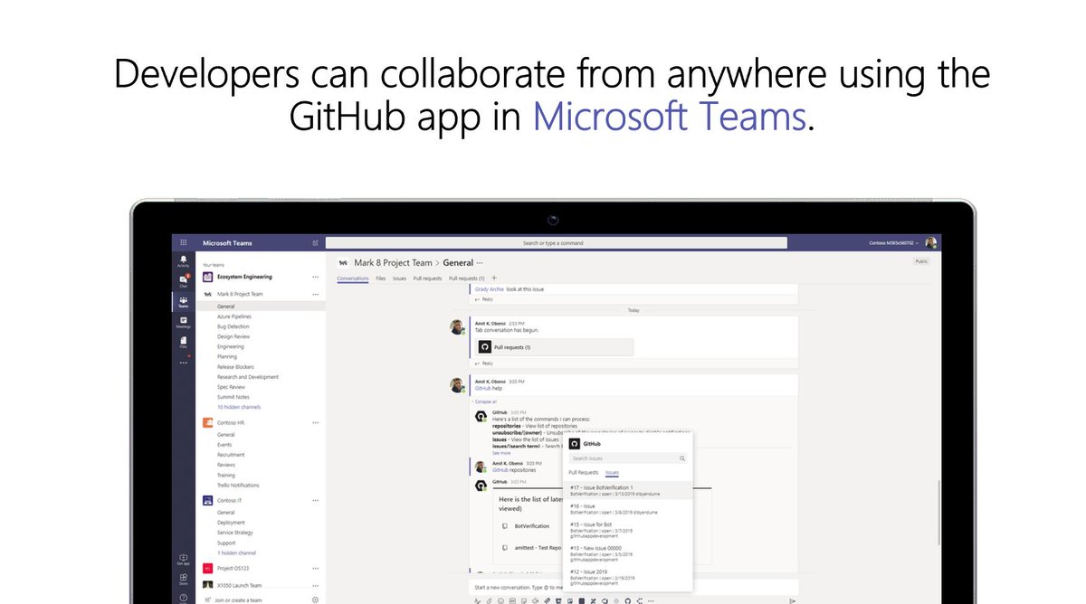 Code #BetterTogether with @GitHub and #MicrosoftTeams! Developers can now collaborate from anywhere using the #GitHub app in Teams. http://msft.social/jjww81