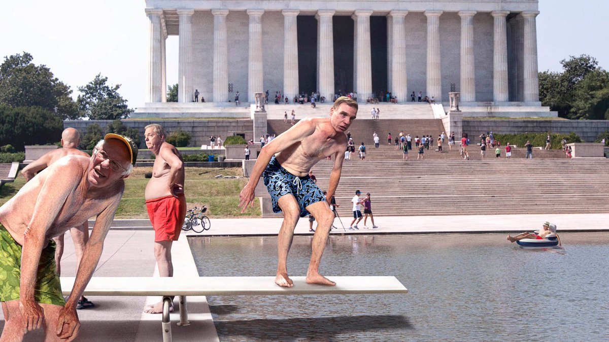 Mark Warner Holding Up Long Line Of Senators Waiting For Diving Board At D.C. Reflecting Pool https://trib.al/wxKqAAD