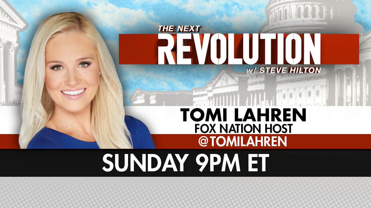 SUNDAY AT 9PM ET! @TomiLahren joins #NextRevFNC! Tune in on @FoxNews!