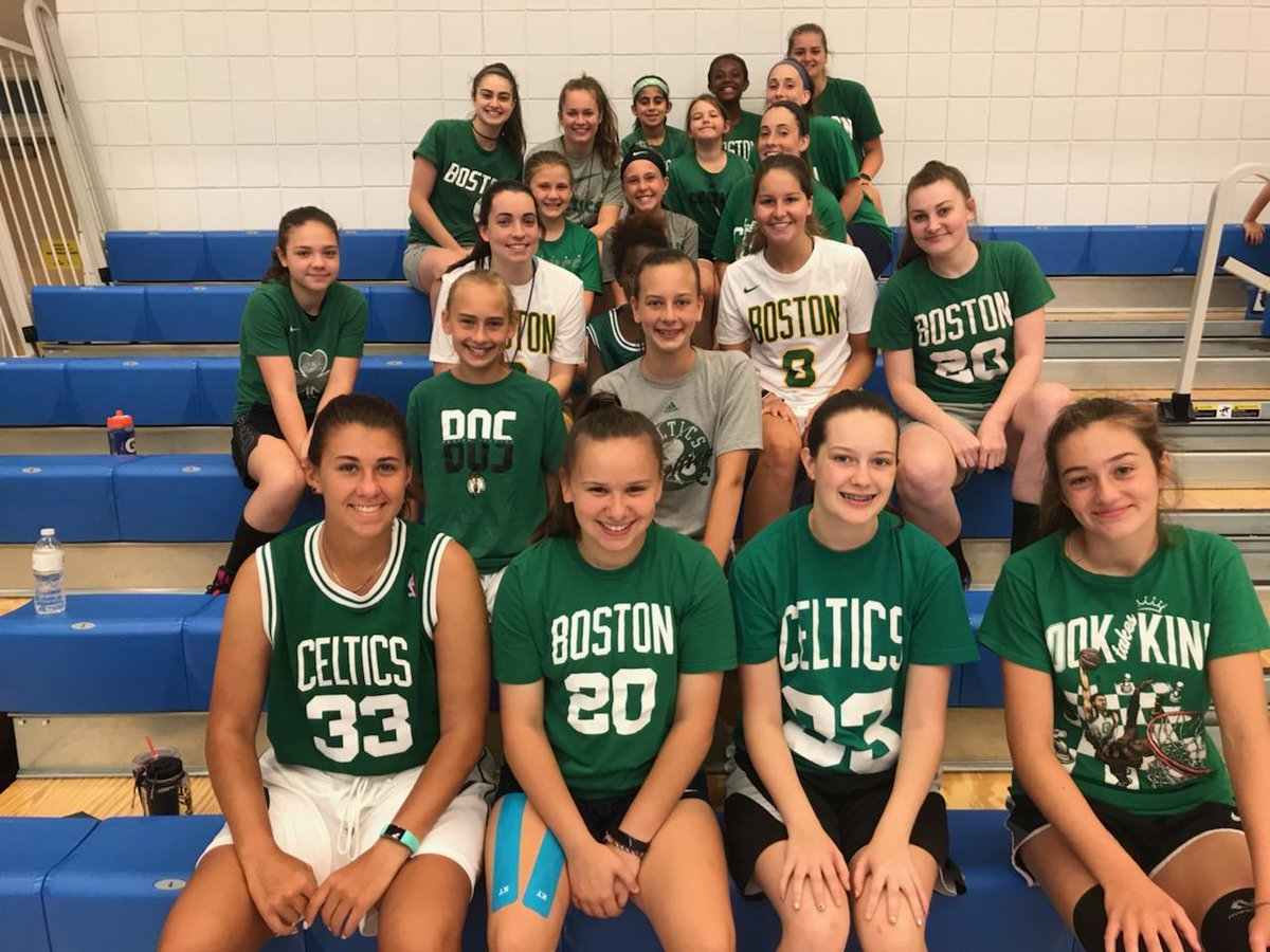 """Hey @celtics! Check out your fans at our girls bball camp on """"Favorite Team"""" day! With Larry Legend, @gordonhayward, and @jaytatum0 #RookTakesKing front and center. 💪🍀 #Celtics"""