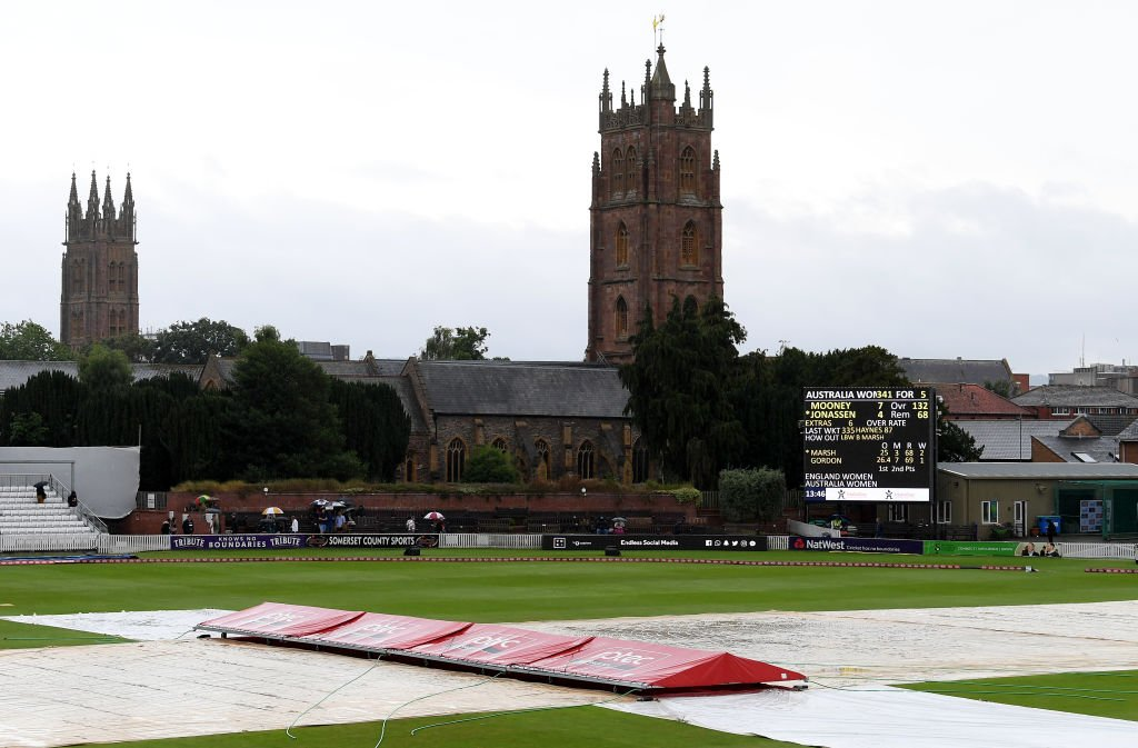 Seconds after it's announced that play will resume at 15:20 BST it starts raining again. The rain is becoming drizzle, and the run-ups are now being covered up again.The 15:20 restart has been officially delayed.https://bbc.in/2LZI3Bq  #bbccricket #WomensAshes