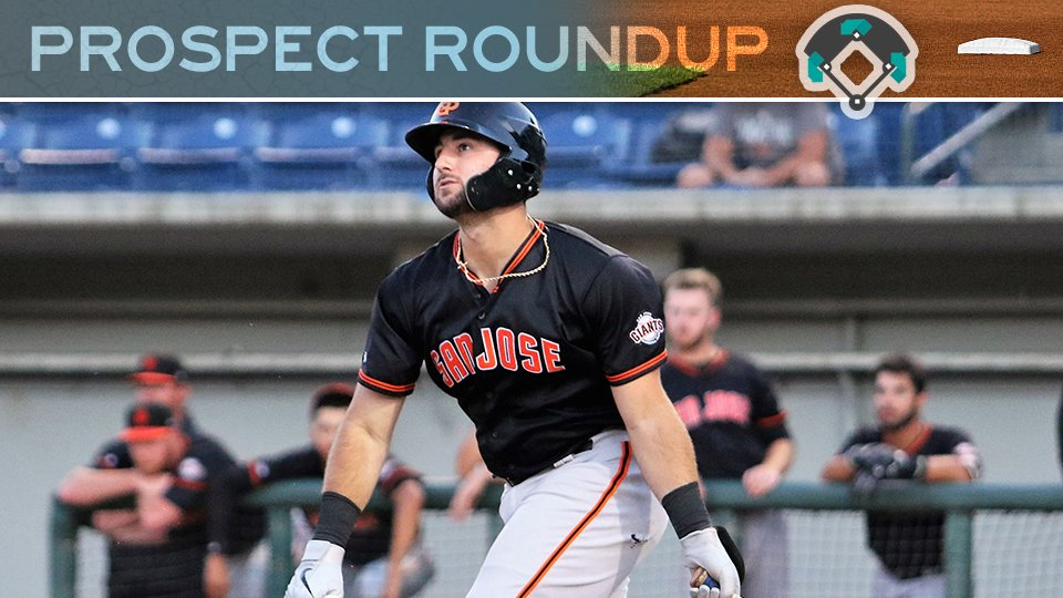 Top #SFGiants prospect Joey Bart clubs two homers for San Jose; #Brewers Trent Grisham extends streak of multi-hit games to six for San Antonio. Prospect Roundup: atmlb.com/30F29Vy
