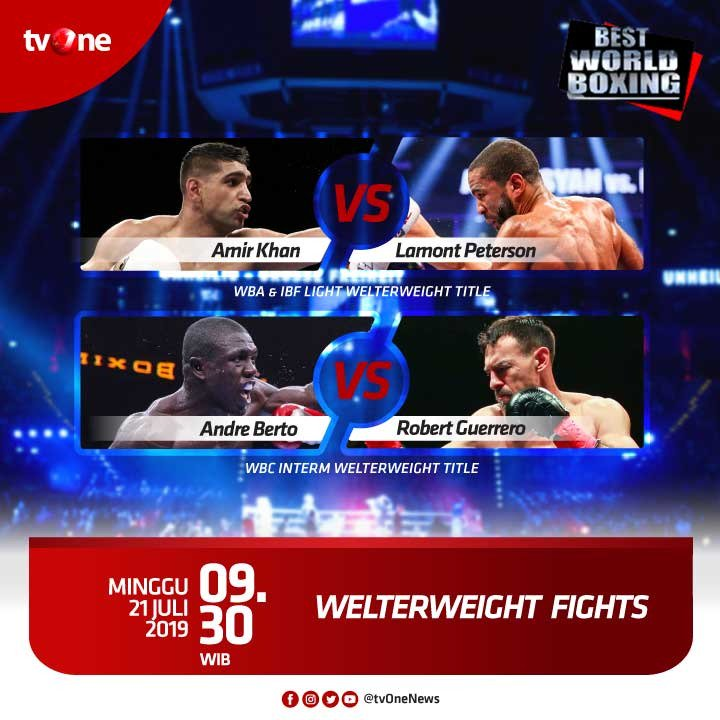 Jangan lewatkan Best World Boxing: Welterweight Fight. WBA & IBF Light Welterweight Title, antara Amir Khan & Lamont Peterson.Minggu, 21 Juli 2019 jam 09.30 WIB di tvOne & streaming di tvOne Connect http://bit.ly/2CMmL5z. #tvOneSports