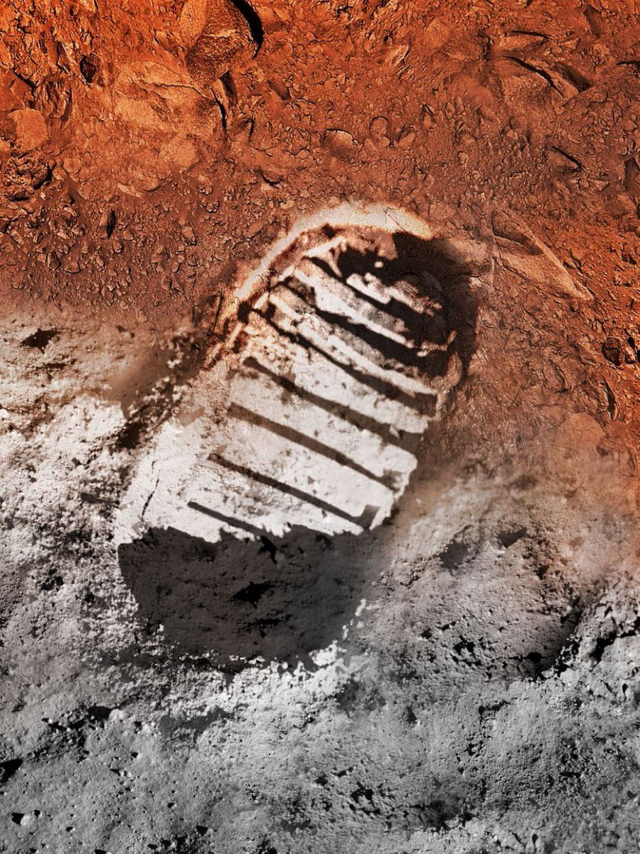 I can't wait for the journey that started with one small step on the Moon to lead to boot prints on Mars. Follow @NASA and tune in to NASA.gov/live for special #Apollo50th programming July 19-20, including rebroadcasts of the landing and first moonwalk in real time.